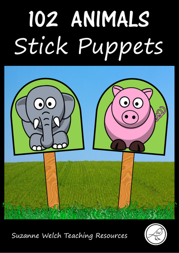 Stick Puppets  -  ANIMALS  -  102 puppets in total!