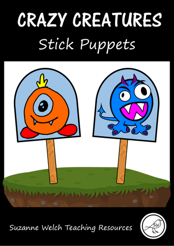 Stick Puppets  -  CRAZY CREATURES / MONSTERS  -  84 puppets in total!