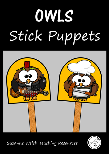 Stick Puppets  -  OWLS  -  18 puppets plus a black and white template