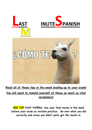 Year 11 Spanish Listening and Reading Strategies booklet - former and new GCSE AQA