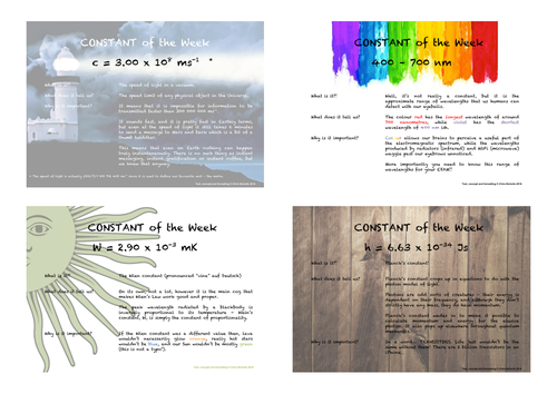 Physics Constant of the Week A3 Posters