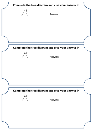 Numbers as a product of prime factors - Prime factor trees