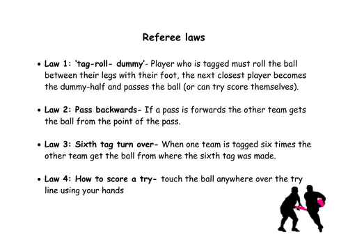 Tag Rugby: Referee Laws (with scorecard on reverse)