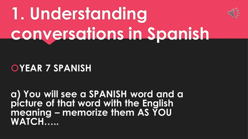 Vocab Reel - Introductions in Spanish - Year 7 Spanish