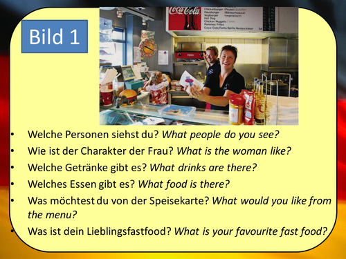Stimmt 1 Chapter 5 (Gute Reise) GCSE Style role play, picture description and translation