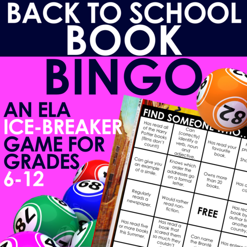 BACK TO SCHOOL BOOK BINGO - 10 'Ice Breaker' Bingo Cards on Reading Habits