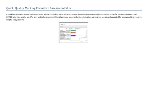 Quick, Quality Marking Formative Assessment Sheet