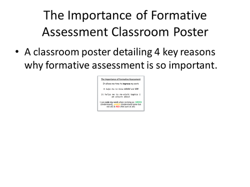 The Importance of Formative Assessment Classroom Poster