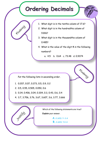 Ordering Decimals - Differentiated Mastery Worksheets