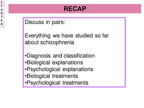 New AQA A2 (2015-2016) Schizophrenia - Lesson 9 Psychological Therapies (Family Therapy)