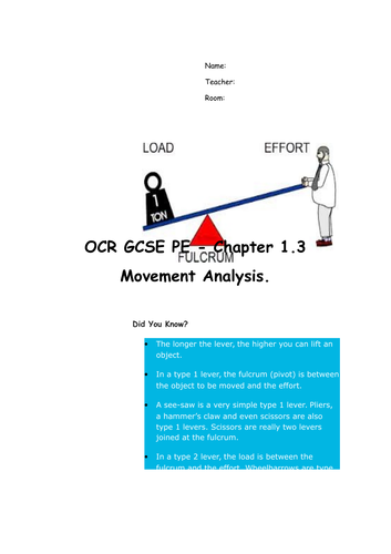 Chapter 1.3 movement analysis for GCSE PE - OCR 2016 Specification Revision/work booklet