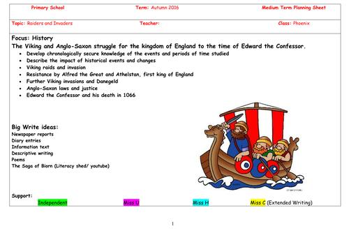 Anglo-Saxons and Vikings plan