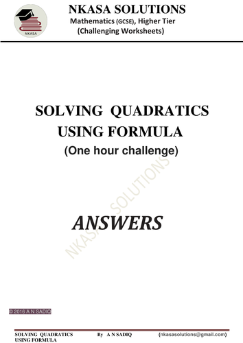 SOLVING  QUADRATICS USING FORMULA for hardworking and bright GCSE and A Level students