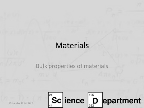 AQA A-Level Physics - Bulk Properties of materials