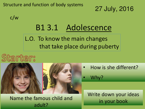 Activate 1:  B1:  3.1  Adolescence