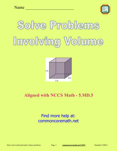 Solve Problems Involving Volume - 5.MD.5