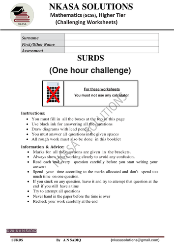 SURDS.....One hour challenge for hardworking and bright GCSE and A Level students