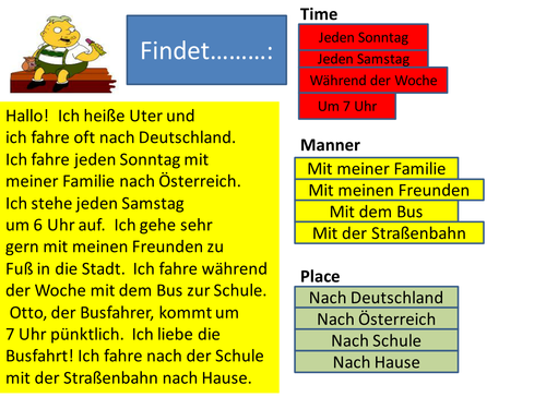 Time Manner Place - Year 7/8 Beginners' Word Order - German