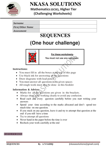 SEQUENCES (One hour challenge)for hardworking and bright GCSE / A Level students