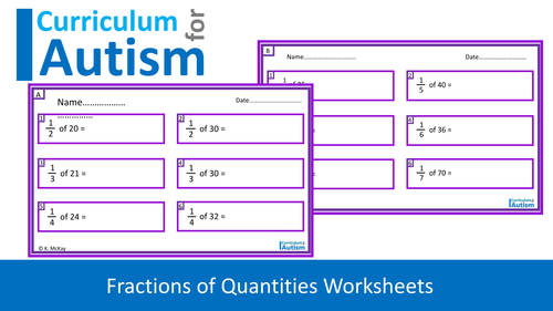 Fractions of Quantities Worksheets, Key Stage 2 Math, Autism ...