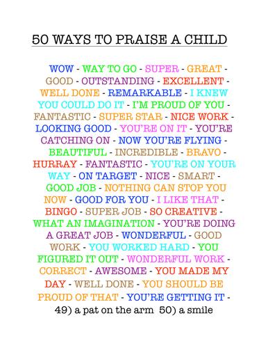 50 Ways to Praise a Child