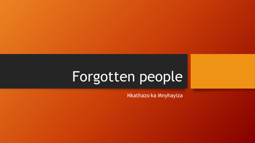 Poetry Lesson - Forgotten People