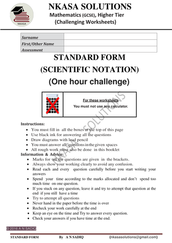 STANDARD FORM (SCIENTIFIC NOTATION)for hardworking and bright GCSE and A Level students