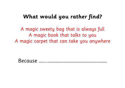 P4C Stimulus - would you rather cards