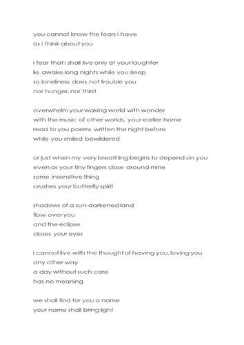 Poem - You cannot know the fears I have