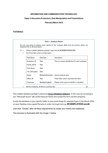 IGCSE ICT Paper 2 Document Production, Data Manipulation and Presentations  February/March 2016