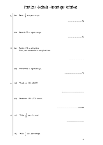 Worksheets Ordering Fractions And Decimals Worksheet fractions and percentages worksheet decimals 4pages by david lawrence worksheet