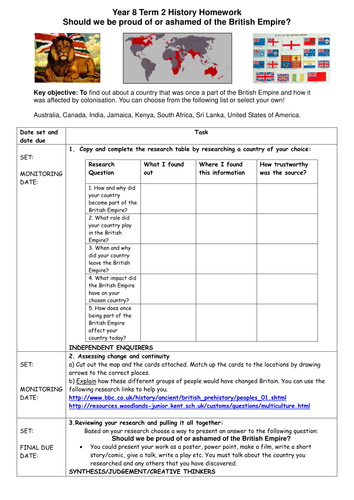 History Homework Project for KS3 double pack