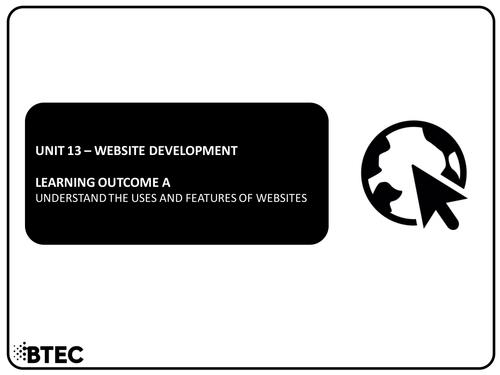 Unit 13 - Website Development - BTEC Level 1 & 2 Diploma in Information & Creative Technology