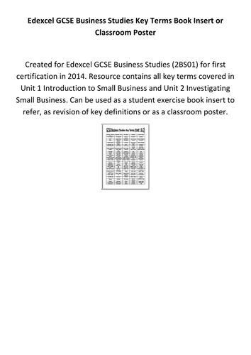 Edexcel GCSE Business Studies Key Terms Book Insert or Classroom Poster