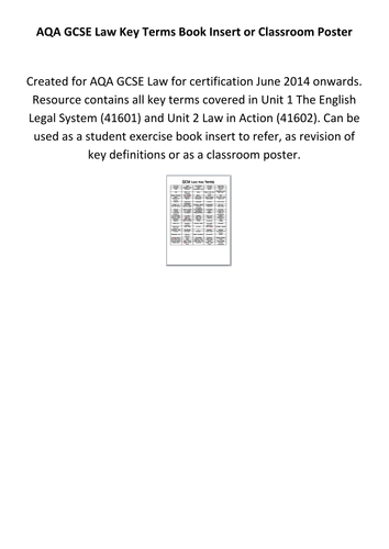 AQA GCSE Law Key Terms Book Insert or Classroom Poster