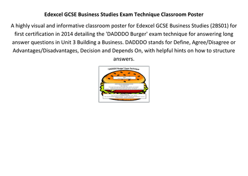 Edexcel GCSE Business Studies Exam Technique Classroom Poster