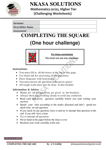 COMPLETING THE SQUARE(One hour challenge) for hardworking and bright GCSE / A Level students