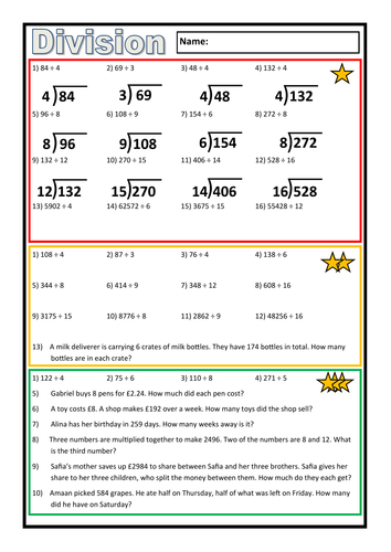Differentiated Division Worksheet By Prof689 Teaching Resources Tes