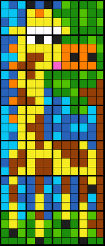 Colouring by Trigonometry - SohCahToa Giraffe, Collaborative Mosaic (28, 8, and 4 sheet versions)
