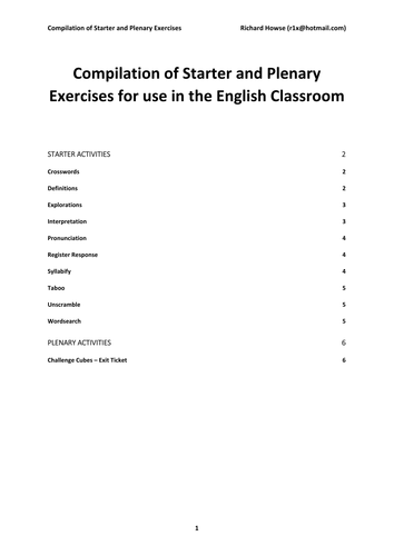 Compilation of Starter and Plenary Exercises for English