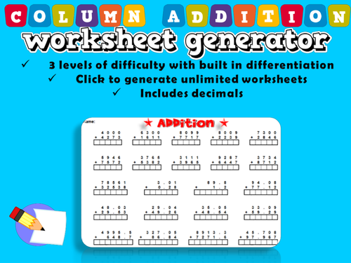 Genius Maths Resources Teaching Resources TES – Addition Worksheet Generator