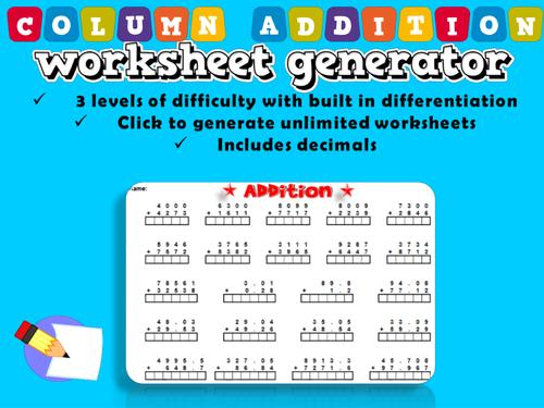 Genius Maths Resources Teaching Resources TES – Addition Worksheet Generator