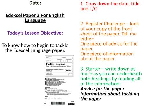 Edexcel Language Paper 2 New Specification - Preparing Pupils for the exam - Full Scheme of Work