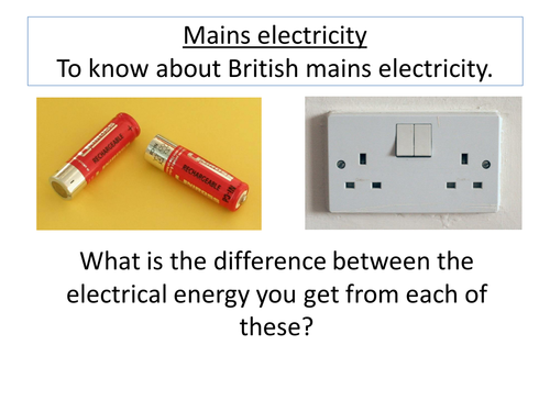 Mains Electricity By Lrcathcart Teaching Resources