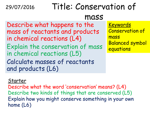 C1 35 Conservation of mass by kitipher Teaching Resources TES – Conservation of Mass Worksheet