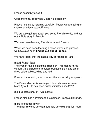 French themed assembly