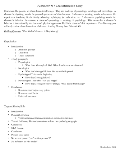 bespoke ela teaching resources tes fahrenheit 451 characterization essay assignment