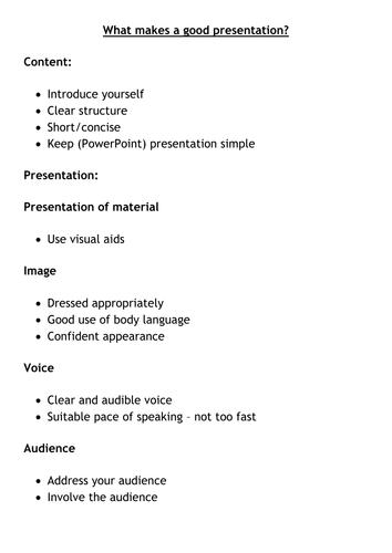 What makes a good presentation?