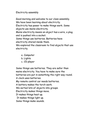 Electricity and its dangers assembly