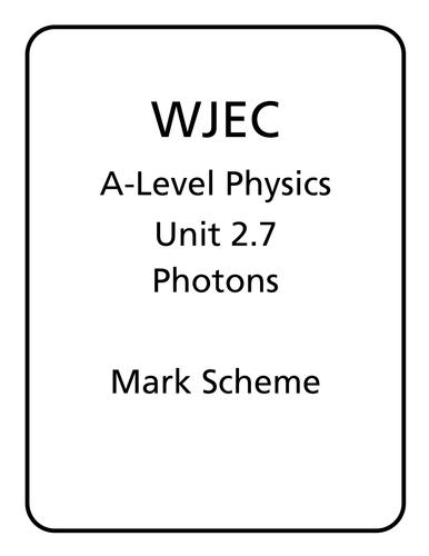 WJEC A Level Physics unit 2.7 - Photons